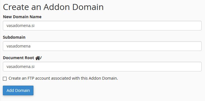 Kako dodati domeno?