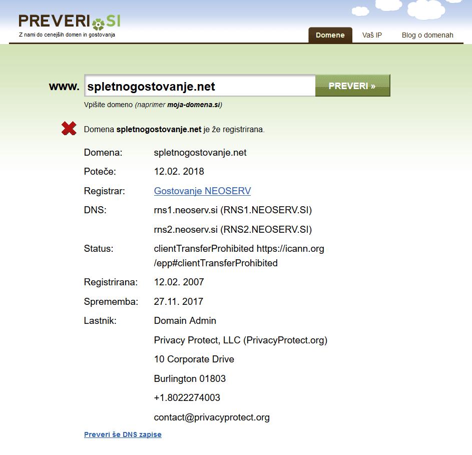 Preverjalnik domen Preveri.si